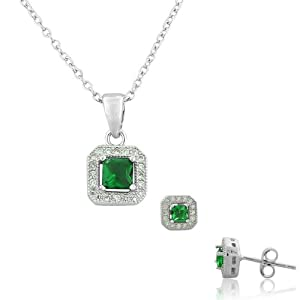 925 Sterling Silver White CZ Square Pendant Necklace Stud Earrings Set
