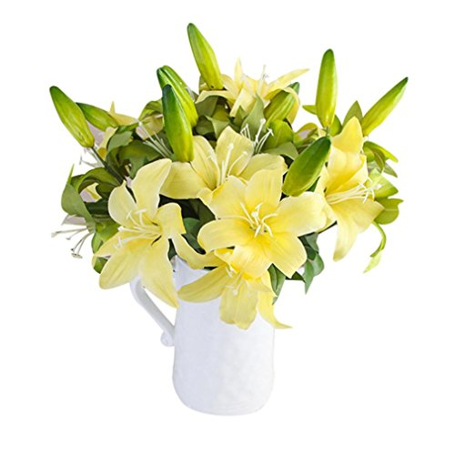 [Lucoo Fashion Triple Head Artificial Lily Silk Flower Home Leaf Rose Wedding Floral Decor Bouquet (Yellow)] (Autumn Leaf Bouquet)
