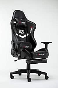 Extreme Zero Series Gaming Chair Black with foot rest