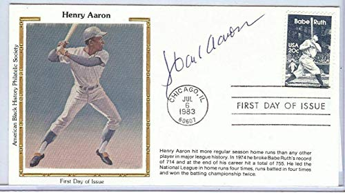 Hank Aaron Signed Autographed First Day Cover Cachet 1983 Braves U82423 - JSA Certified - MLB Cut Signatures