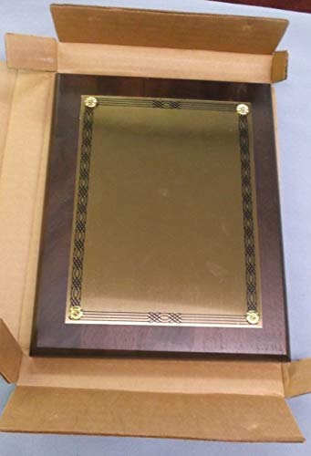 Trophy Parts 8x10 Plaque Solid American Walnut Blank Gold Brass Plate ()