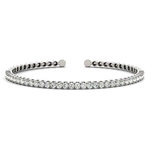 Diana Cufflinks (Diamond Cuff Bangle Tennis Slip On Bracelet 14k White Gold (1.05ct))