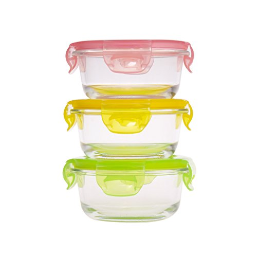 3 Piece Baby Glass Food Storage Container Set with BPA Free Colorful Lid