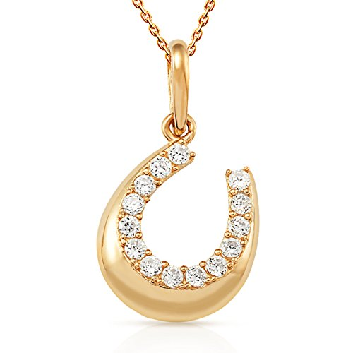 Horseshoe Pendant With White CZ in 14K Yellow Gold 18