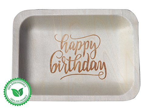 ''Happy Birthday'' StatementWare Disposable Birthday Plates (50-pack)—100% Natural and Eco-Friendly, Elegant Alternative to Happy Birthday Plates, Plastic Party Plates, and Cake Plates (7.5'' x 5.5'') by Wood & Wonder (Image #9)