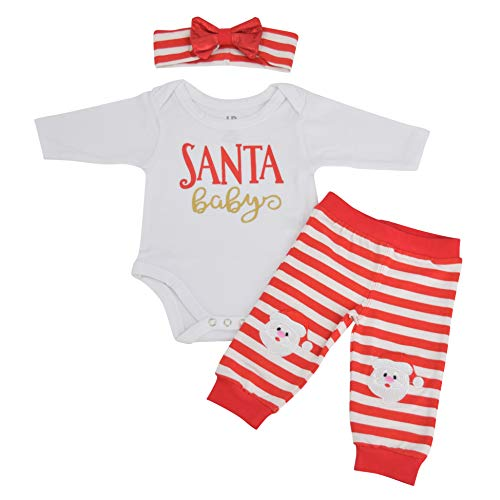 Unique Baby Girls Santa Baby Christmas Layette Set with Headband (9 Months) White -