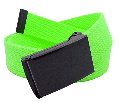 Men's Black Flip Top Military Belt Buckle with Canvas Web Belt X-Large Neon Green