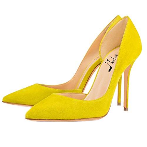 D'Orsay Schuhe Damen High Jushee Spitze Pumps Gelb Stiletto Graceful Lackleder Kleid Partei Heels Zehen Hochzeit FqZW4Bw