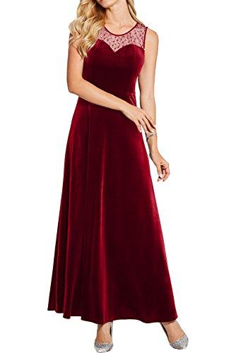 Rot Rundkragen Lang Partykleider Ivydressing Cocktailkleider Promkleider Abendkleider Damen Samt Klassich qvzTt