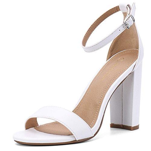 (Moda Chics Women's High Chunky Block Heel Pump Dress Sandals White PU 9 D(M) US)