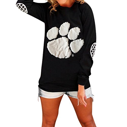 Lisli Women's Elbow Patch Paw Print Loose Fit Tops T-Shirt Casual Blouse Tee (16, (Paw Print Neck)