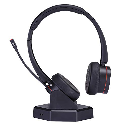 Wireless Telephone Headset with Microphone for Office Landline Noise Cancelling Business Headset Dual Ear Compatible with Computer Laptop Cell Phones for Conference Skype Calls Microsoft Teams etc