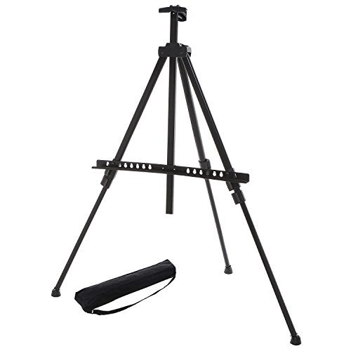 MyGift Adjustable Black Aluminum Tripod Easel/Freestanding Presentation Board & Store Sign/Art Display Stand by MyGift