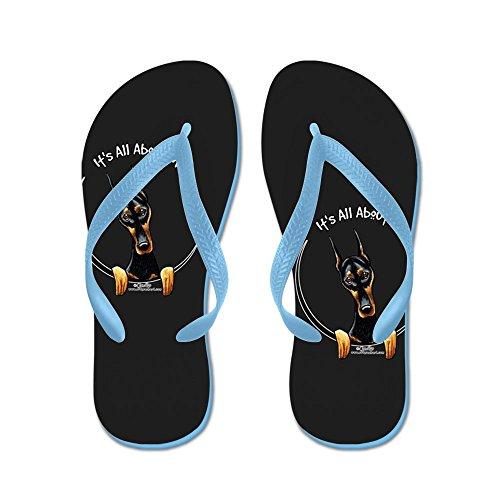 Cafepress Doberman Iaam - Flip Flops, Roliga Rem Sandaler, Strand Sandaler Caribbean Blue