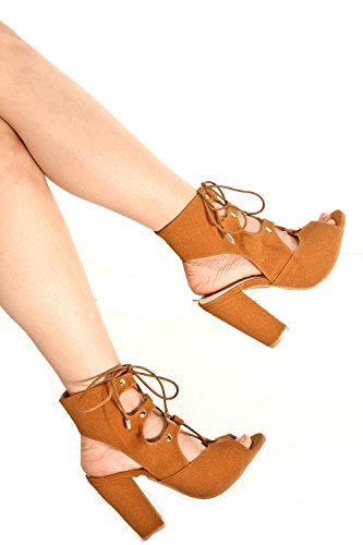 METTLE SMOOTH VELVET PEEP TOE FRONT LACE UP CHUNKY HEELS Camel MnNwDTf
