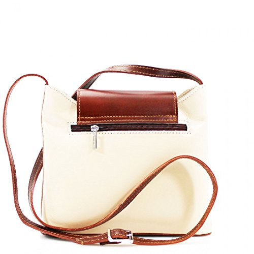 Italian Handbag Vera or Bag Shoulder Body Cross Bag Genuine Multi Pocket Beige Leather Mini Small Brown Pelle 1wxAOd7q