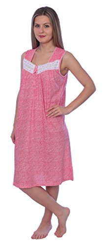 Beverly Rock Women's Floral Print Sleeveless Knit Nightgown RQ117 Pink XL