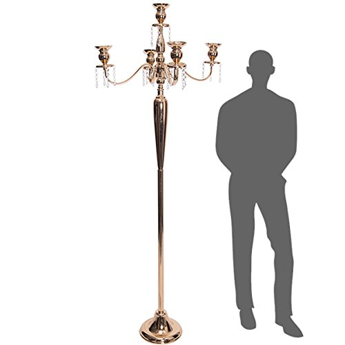 Floor Candleabra - Event Decor Direct The Antiquity- Massive 6ft Tall 4-arm Candelabra in Soft Gold