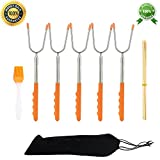 Marshmallow Roasting Sticks Set of 5 Smores Skewers Hot Dog Fork Safe for Kids Extra Long 45 Inch Telescoping Extendable Steel Fork Kit For Patio Fire Pit, Kids Camping, Campfire, Bonfire & BBQ Kit