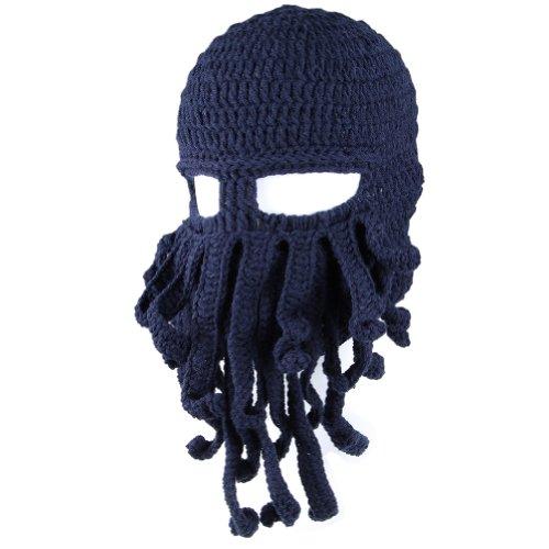 FREE FISHER Unisex Knit Octopus Yarn Tentacle Beard Beanie Kraken Hat Funny Gift Dark Blue