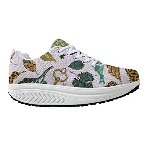 Bigcardesigns Sneaker Womens Sliming Walking Shoes Leaf