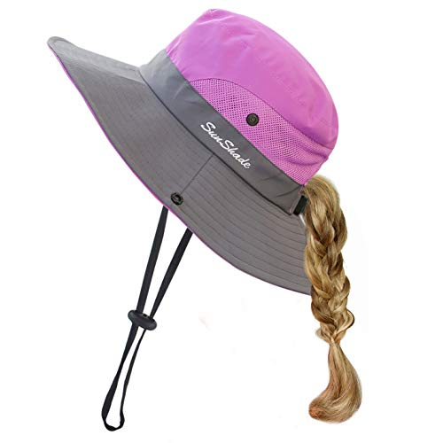 Toddler Child Kids Girls Summer Sun Hat UV Protection Wide Brim Beach Hat Floppy Bucket Hats for Fishing Gardening Purple]()