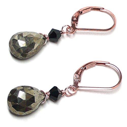 Pyrite Briolette Earrings (Pyrite Briolette Rose Gold-Filled Lever Back Earrings Swarovski Crystal)