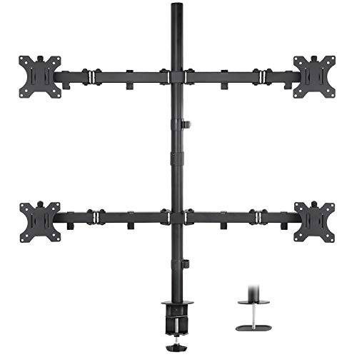 Mount-It! Quad Monitor Mount, 4 Screen Desk Stand Fits 17, 19, 20, 22, 23, 24, 27, 29, 30, 32 Inch Computer Screens, Height Adjustable, Clamp and Grommet Base, VESA 75x75 and 100x100, Black