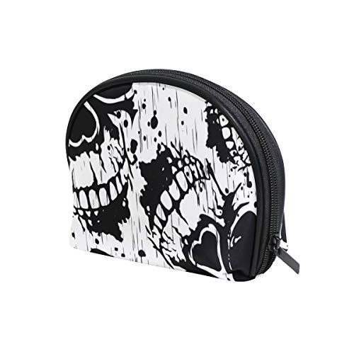 U LIFE Halloween Black White Skulls Cosmetic Bag Makeup Travel Organizer Storage Pouch Purse for Women Girls