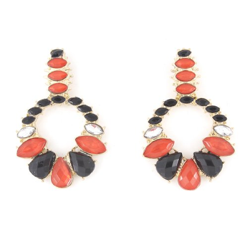 Pretty Red and Black Stones Post Backing -