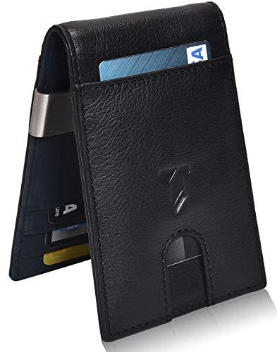 Money clip wallet Leather wallets - Slim Wallets for Men with RFID wallets for men RFID blocking front pocket wallet (Black/Navy Nappa)