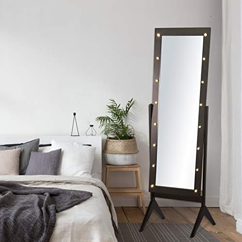 eHomeProducts Espresso Brown Finish LED Lights Wooden Cheval Bedroom Floor Mirror Stand Hollywood Makeup - Body Floor