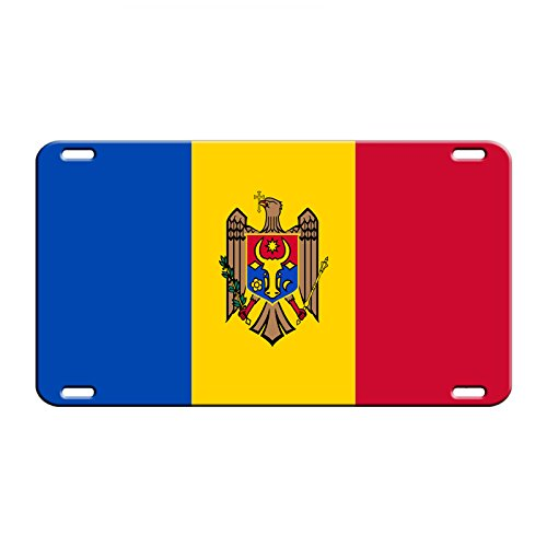 Moldova Country Flag Aluminum Metal Novelty License Plate Tag