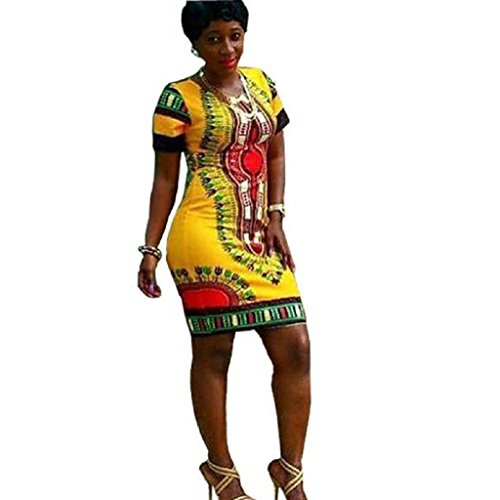 femmes Dashiki impression Tonsee Robe traditionnelle de africaine taille Jaune Plus Bodycon O6XwHq