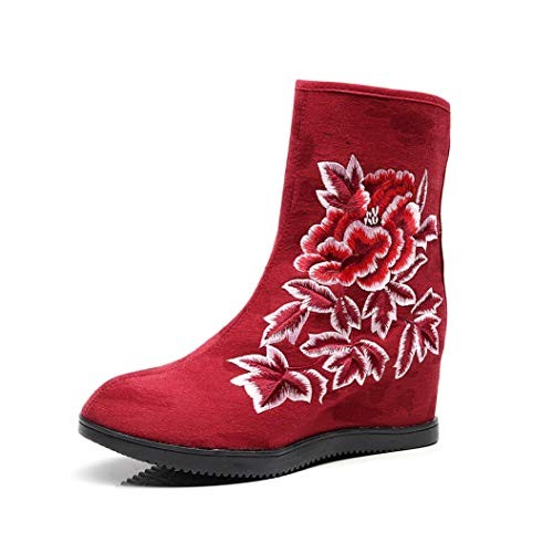 (Kyle Walsh Pa Women Embroidered Boots Hidden Wedge Roundd Toe Female Classic Autumn Winter Ankle Booties)
