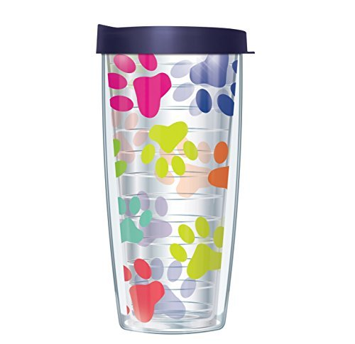 Paw Prints On Clear Wrap Traveler 16 Oz Tumbler Cup with Navy Lid