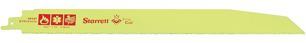 Starrett BTR121014-50 Bi-Metal Tapered King Cut Fire, Rescue and Demolition Reciprocating Blade, 0.063'' Thick, 10/14 TPI, 12'' Length x 1'' Width (Pack of 50)