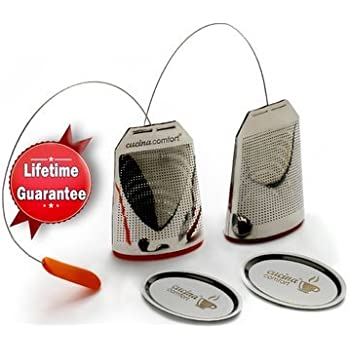 New Design Loose Leaf Tea Infuser Set (2 Pack) Tea Bag Style Stainless Steel Tea Strainers by Cucina Comfort for Better Loose Leaf Tea Includes 2 Single Cup Infusers, 1 Tea Scoop & cleaning brush