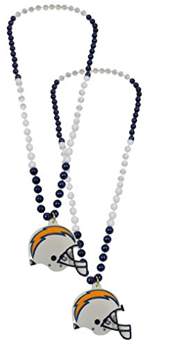 Mardi Gras Costumes New Orleans (Official National Football League Fan Shop Authentic NFL Team Party Mardi Gras Custom Tailgate Beads 2-pack (San Diego Chargers))