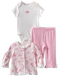 Little Me Baby-Girls Newborn Floral Scroll Take Me Home Sleepwear Set , Pink, 6 Months