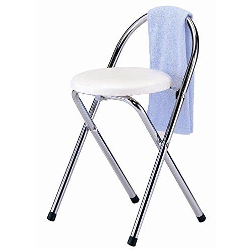 Badhocker Klapphocker Klappstuhl, weiß, verchromter Metallfuß, Sitzhöhe 46 cm
