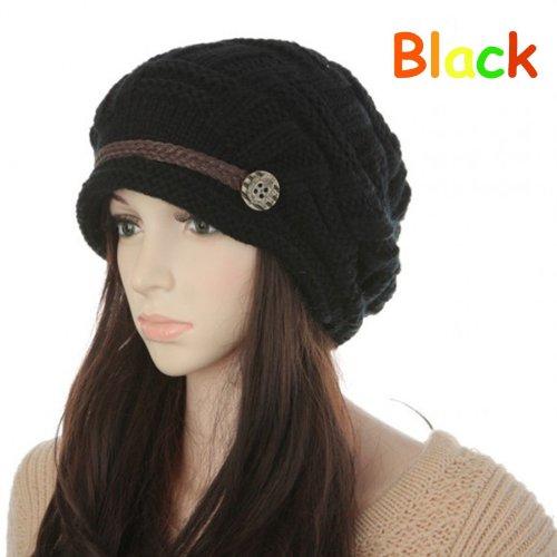 Women Knit Snow Hat Winter Snowboarding Beanie Crochet Cap (Black) from Amasale