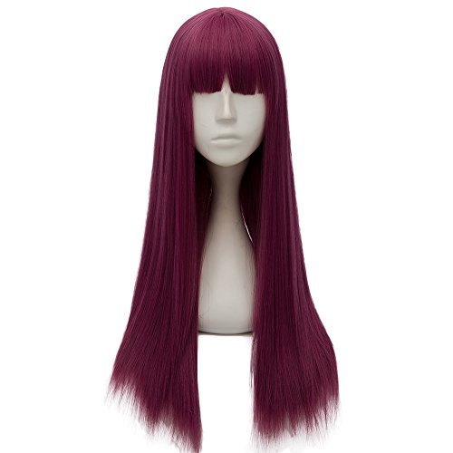 Netgo Purple Cosplay Custome Wigs with Bang for Kids Girls Long Straight Halloween Party Wigs - Custome Wigs
