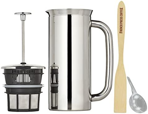 Espro Press P7, Stainless Steel French Press, Double Wall, Vacuum Insulated 6-8 cups, 32 ounce, Polished Bundle with Handcrafted Bamboo Paddle, Coffee Scoop