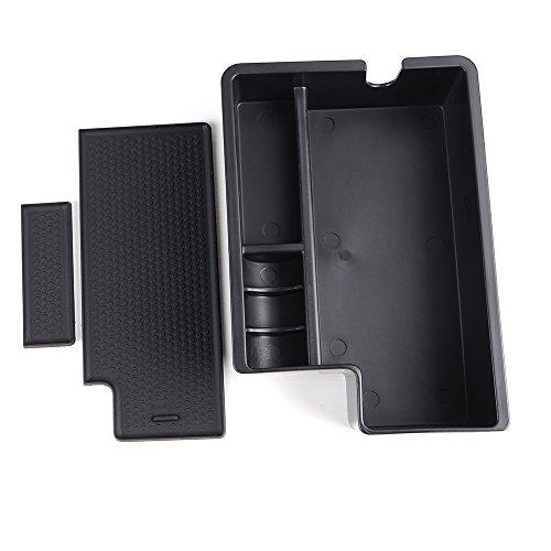 Black Car Armrest Secondary Storage Center Console Organizer Box w. Non-slip Rubber Pallet for 2010-2017 Mitsubishi Outlander Sport/RVR/ASX