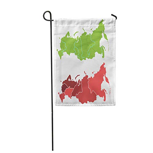 Semtomn Garden Flag Russia Map Outline and Allocation of Federal Districts Separated 12