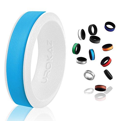 UROKAZ - Silicone Wedding Ring, The Only Ring that Fits Your Lifestyle - Whether You are Single or Married, Ring is Right for You - It is Fashionable, Flexible, and Comfortable (Tone Two Tiffany Ring)
