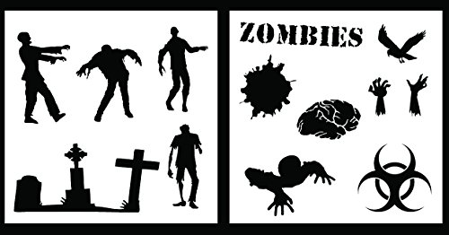 Auto Vynamics - STENCIL-ZOMBIESET01-10 - Detailed Zombie / Undead Stencil Set - Features Several Different Zombie Designs & More! - 10-by-10-inch Sheets - (2) Piece Kit - Pair of Sheets