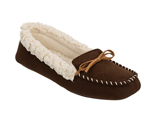 Dearfoams Microsuede Moc With Quilted Tab And Memory Foam - Zapatillas bajas para mujer Espresso