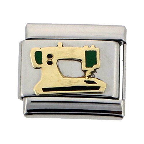 Stainless Steel 18k Gold Sewing Machine Charm for Italian Charm Bracelets